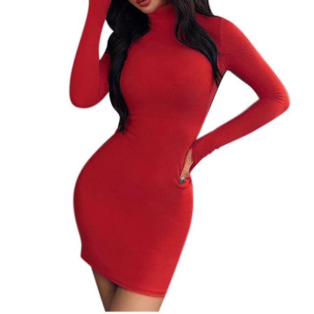 New Solid Dress Women Sexy Night Club Bodycon Turtleneck