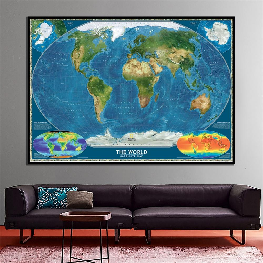 60x90cm The World Satellite Map With Surface Temperature And Biosphere Revised October 2010 For Office Wall Decor Canvas