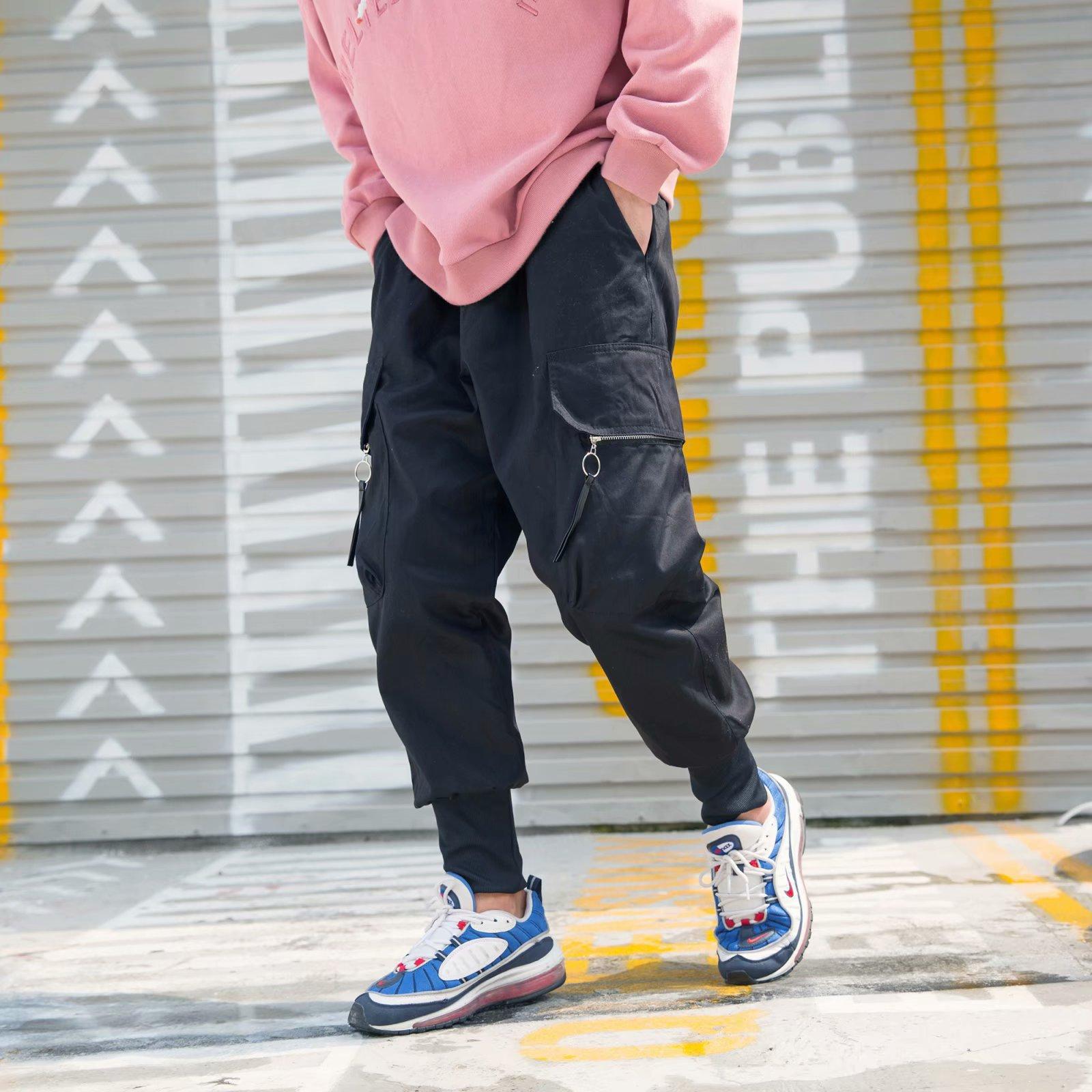 Harem Pants Men's Thin Autumn New Products Korean-style Hip Hop Casual Pants Men's Loose-Fit Hong Kong Style Capri Pants Men's S