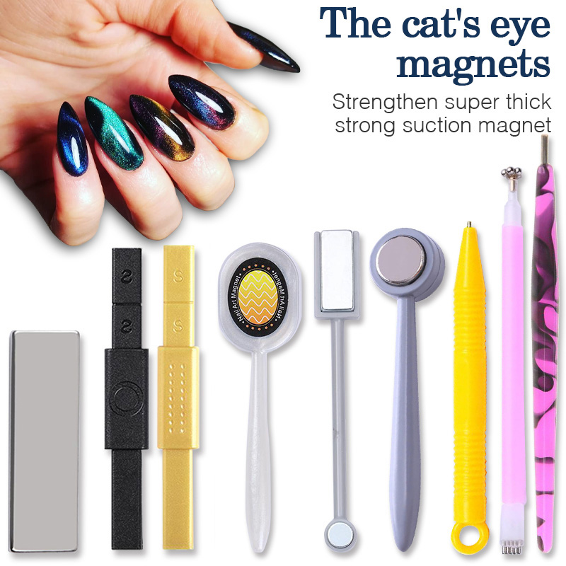 Multi-funcation 12 In 1 Magnetic Nail Art Stick 3D Cat Eyes Effect Strong Magnet Board Painting Gel Nail Polish  Tool