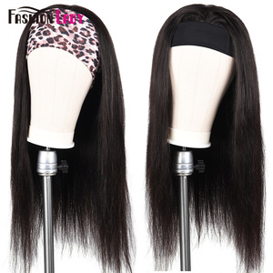 Image 3 - Fashion Lady Headband Wig Human Hair Straight Wave For Black Women 2020 Winter New Arrival Remy Hair Glueless Full Machine Wigs