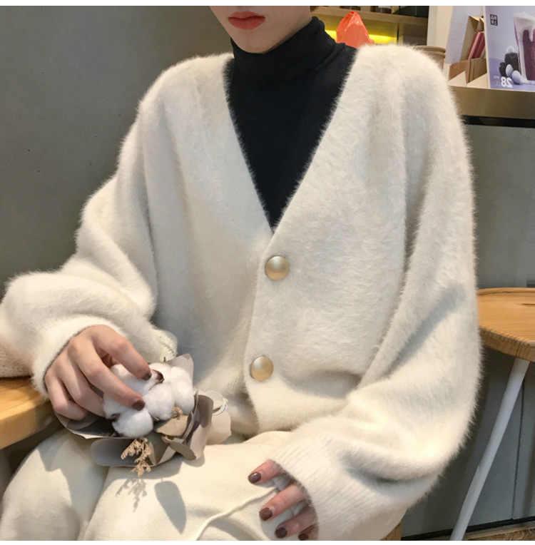 Vest effen kleur knop losse hot trui Herfst en winter nieuwe bladerdeeg mouw vrouwelijke v-hals vrouwelijke truien vestidos LXJ772