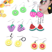 New ins Korean Version Ff Earrings creative fruit watermelon strawberry lemon cute small fresh earrings personality women