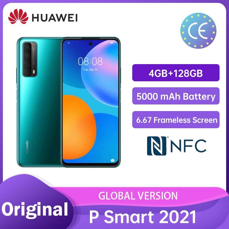 (Free Film)Huawei P Smart 2021 4GB 128GB NFC 48 MP Quad Camera 5000 mAh Battery 6.67 Frameless Screen Mobile Phones Смартфоны