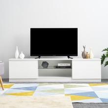 Новинка 160 см длина глянцевый ТВ шкаф тв стойка Белый матовый корпус светодиодный RGB светильник мебель для гостиной