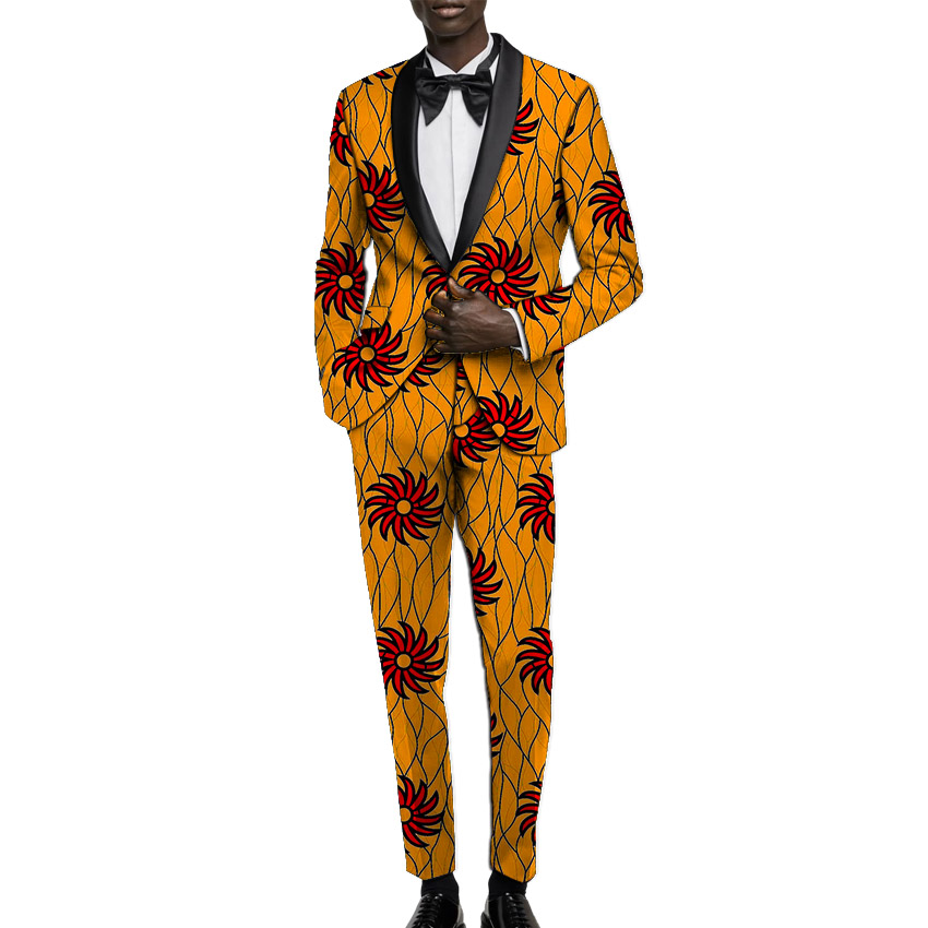 Купить с кэшбэком African print blazer with trouser men's suits dashiki wedding wear customized Ankara pant suits male grande toilette