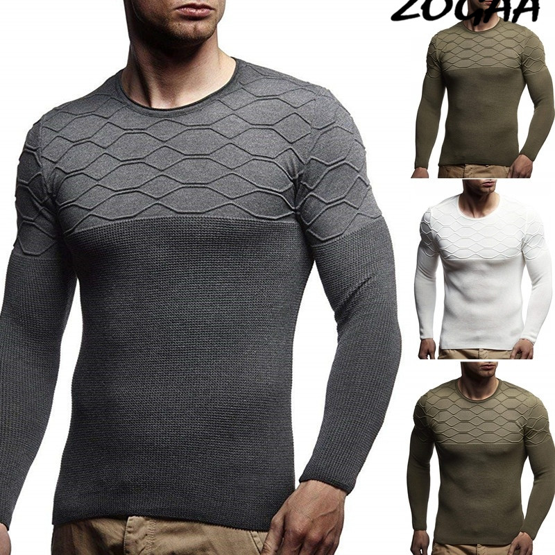 ZOGAA S-3XL 2019 Winter Casual Men's Sweater O-Neck Slim Fit Knittwear Mens Sweaters Pullovers Pullover Men Pull Homme