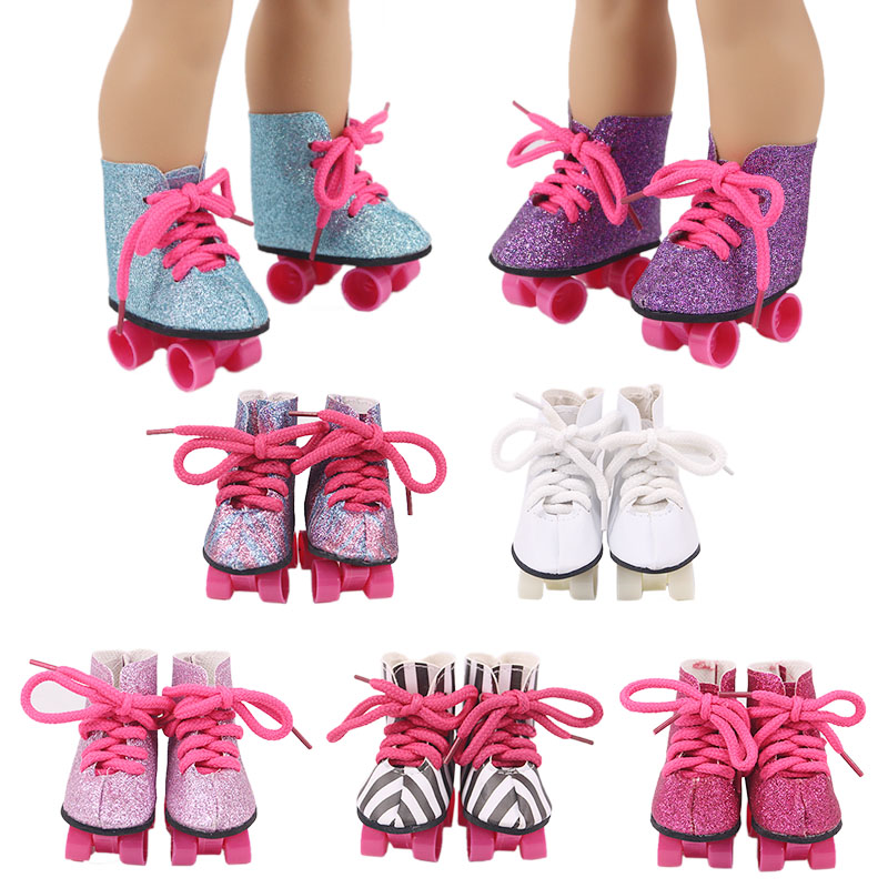 7 Styles New Four-Wheel Drive Sequin Skates Strap Suitable 18-Inch American Dolls And 43cm Baby Doll Clothes Accessories,  Gifts