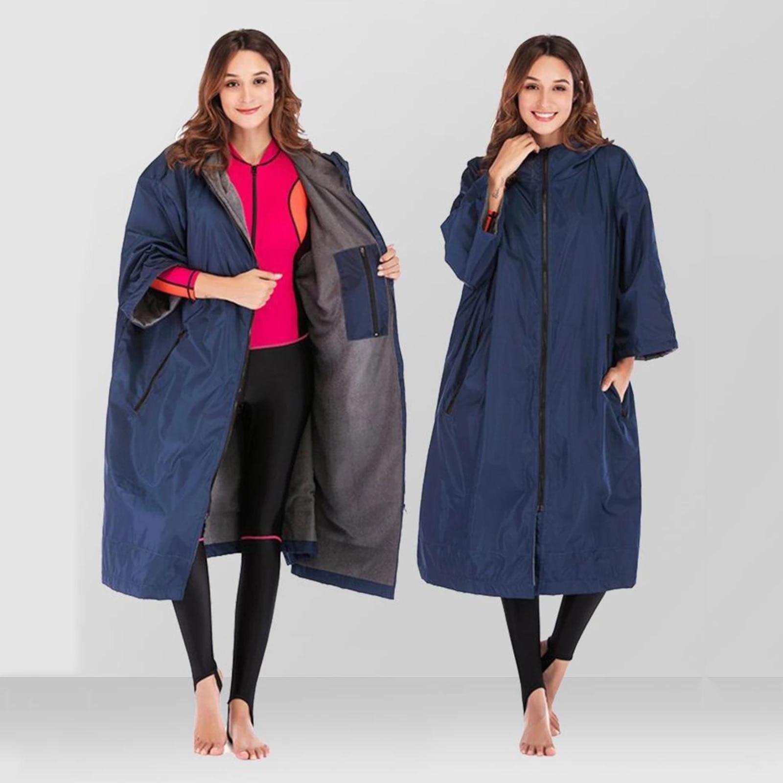 Warm Changing Robe Jacket Surfing Swimming Windbreaker Fleece Lining Anorak Coat