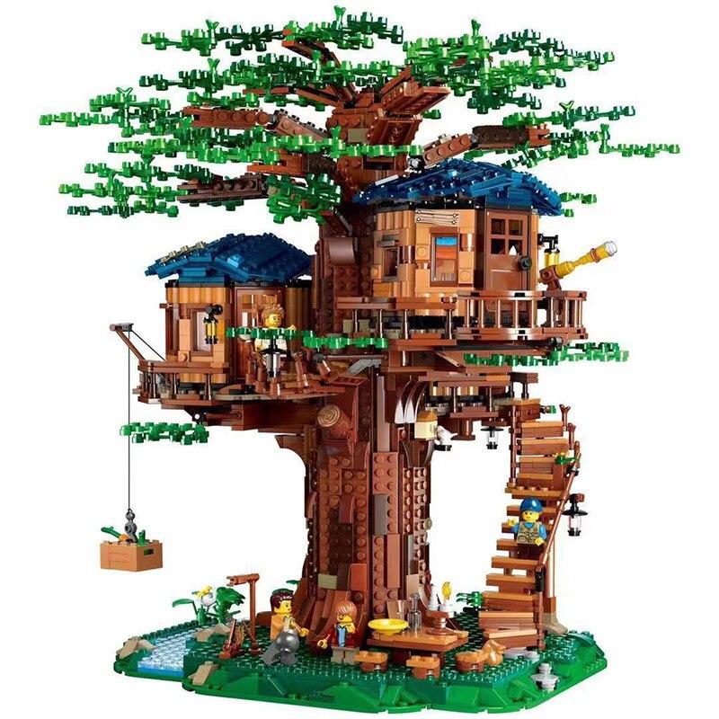 Ideen Baum Haus Modell Blätter Zwei Farben Bausteine Bricks Set Chirstmas Geschenke für Kind Kompatibel Legoinglys Freunde 21318 - 3