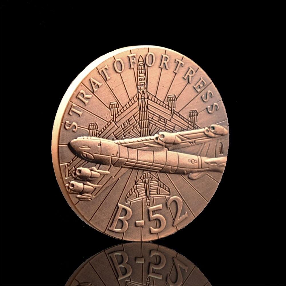 Латунное покрытие, армия США, бомбардировщик B52, самолет, новинка, вызов, военная монета на заказ для сувениров, коллекционные предметы, без в...