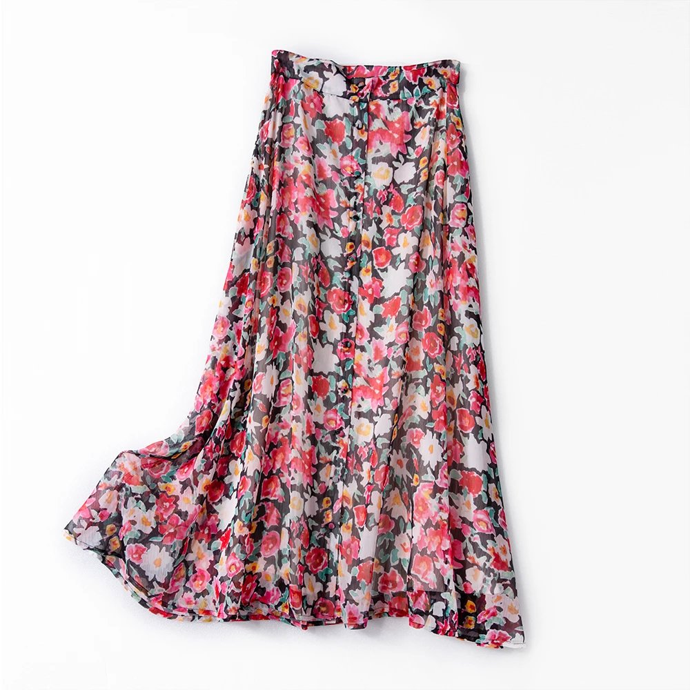 Holiday Style Oil Painting Rose Print Women Midi Skirt 2020 Spring Summer New Split Buttons Casual Wild Lady Skirt