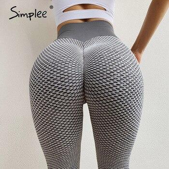 Simplee Fitness Mujer sexi Legging Mujer Push Up cintura alta Control de la panza Leggins Activewear gimnasio Leggings sin costura femenina 2020