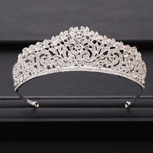 Vintage Silver Color Crystal Crown Princess Rhinestone Prom Pageant Crowns For Women Wedding Tiara For Bride Hair Accessories