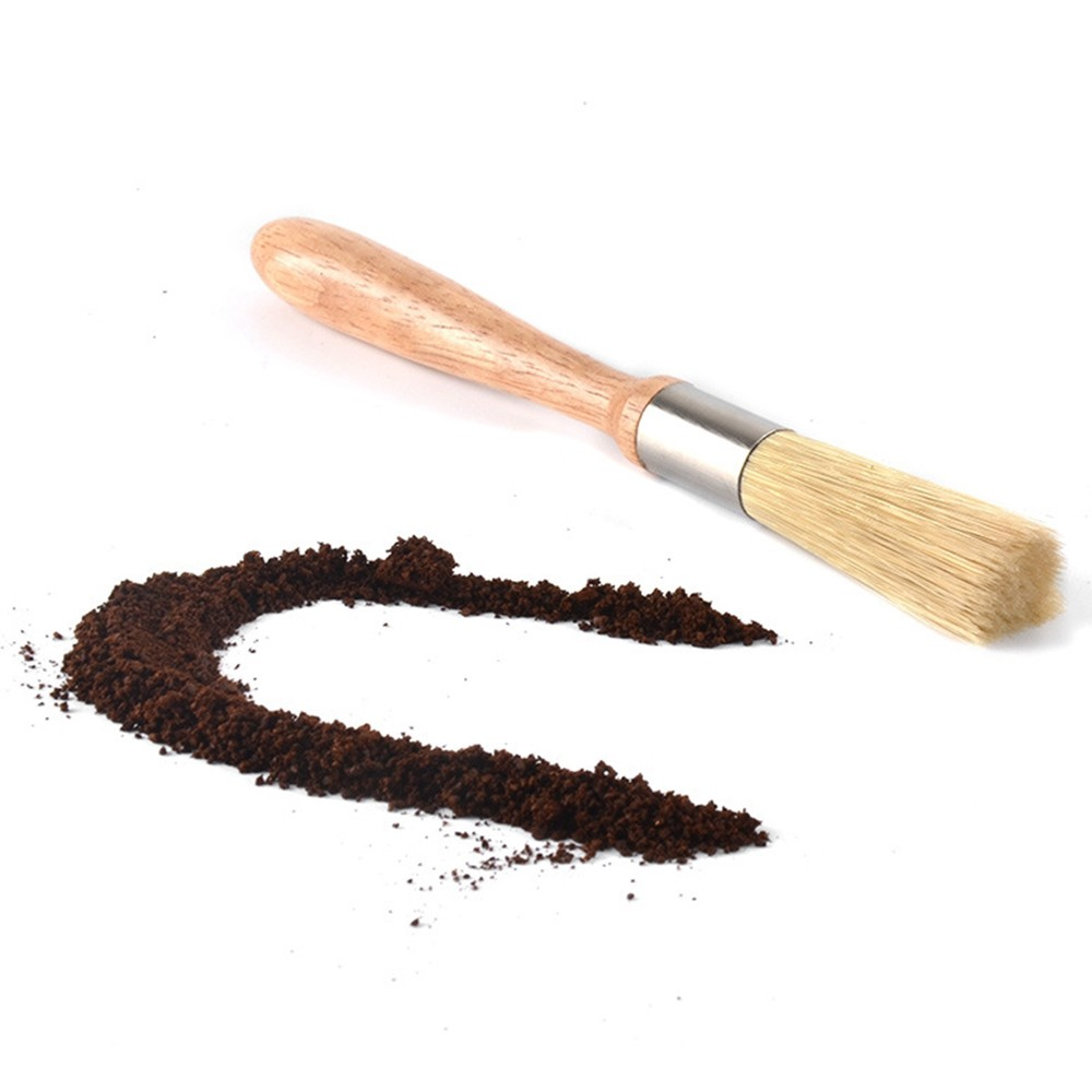Useful Grinder Cleaning Brush Wooden Handle Nylon Brush Coffee Appliance Cleaning Brush Coffee Bar Appliance