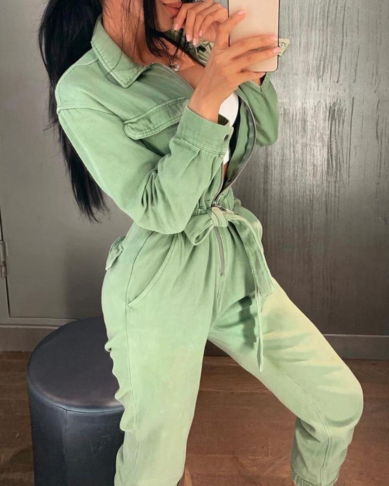 Casual Cargo Cotton Female Jumpsuits Green Sash Pocket Sport Womens Jumpsuit Romper Chic Autumn Winter Ladies Overalls 2020