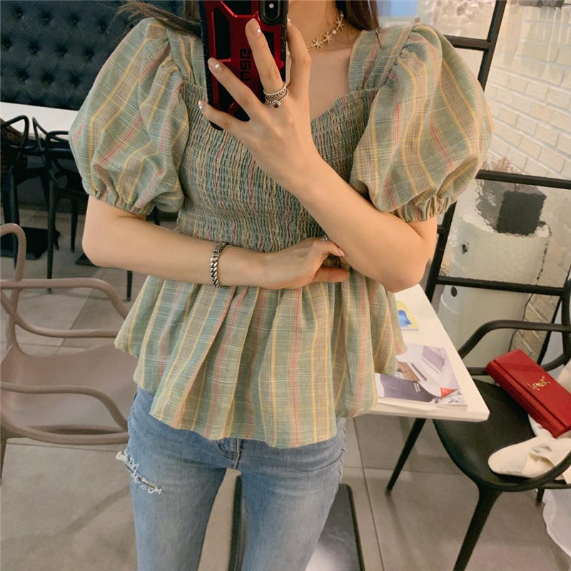 Alien Kitty Chic Plaid Sexy All Match Cute Square Collar 2020 Puff Sleeves Women Sweet Office Lady Vintage Streetwear Shirts