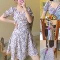 Платье в стиле ретро с цветочным принтом, французское платье с квадратным вырезом и пышными рукавами, фиолетовая юбка с разрезом, DO99, Новинк...