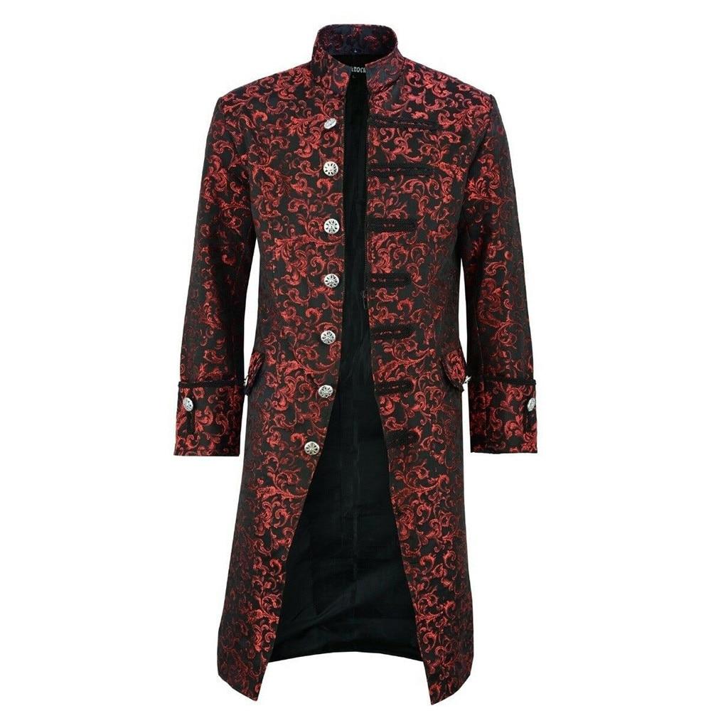 Plus Size S-5XL Winter Trench Coat Men Gothic Steampunk Vintage Tailcoat Frock Uniform Slim Long Warm Men Jackets And Coats