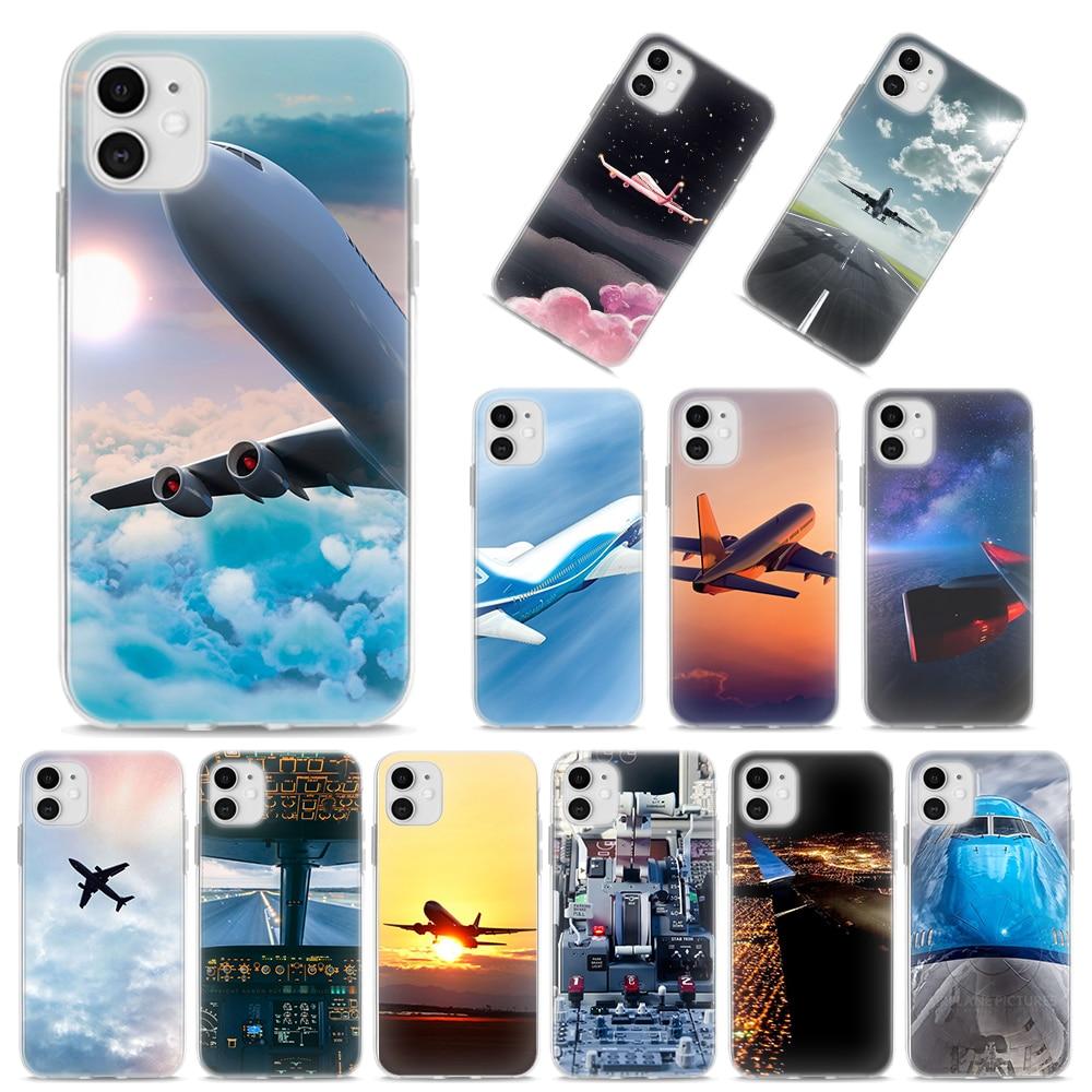 Силиконовый чехол для iPhone X XR XS MAX 11 Pro MAX 7 8 Plus 6 6S Plus 5S SE, мягкий чехол для самолета, чехол