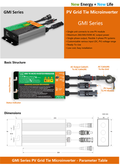 Водонепроницаемый 350 Вт 300 Вт 260 Вт MPPT солнечный PV сетчатый микро инвертор GMI серия вход 18 в-50 В постоянного тока выход 110 В-240 в IP 65