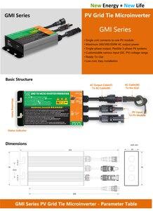 Водонепроницаемый микро инвертор GMI серии 350W 300W 260W MPPT, солнечный PV сетевой инвертор, вход 18V-50V DC выход 110V-240V IP 65