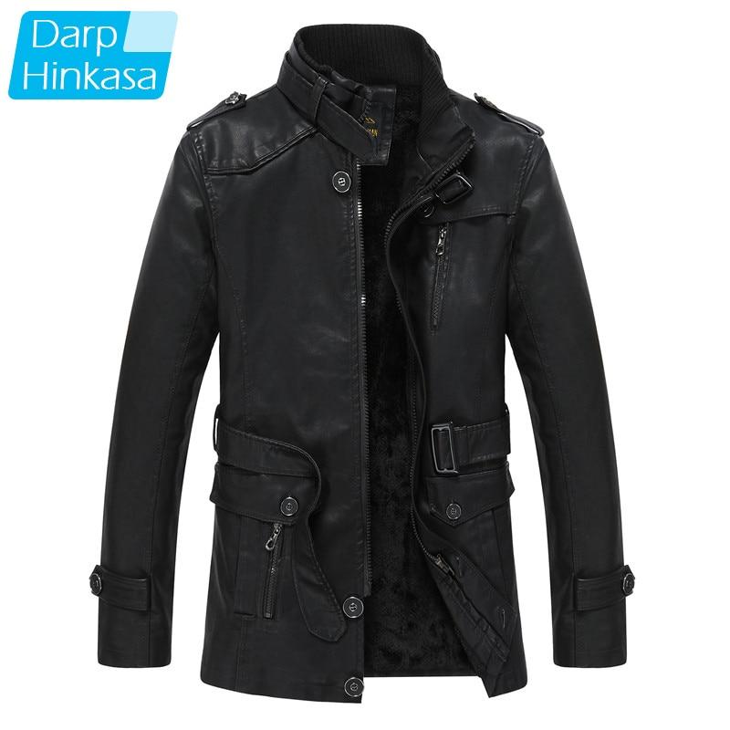 Men Winter Pu Leather Jacket Parkas Long New Warm Thick Casual Fashion Vintage Motor Leather Jacket Parkas Men