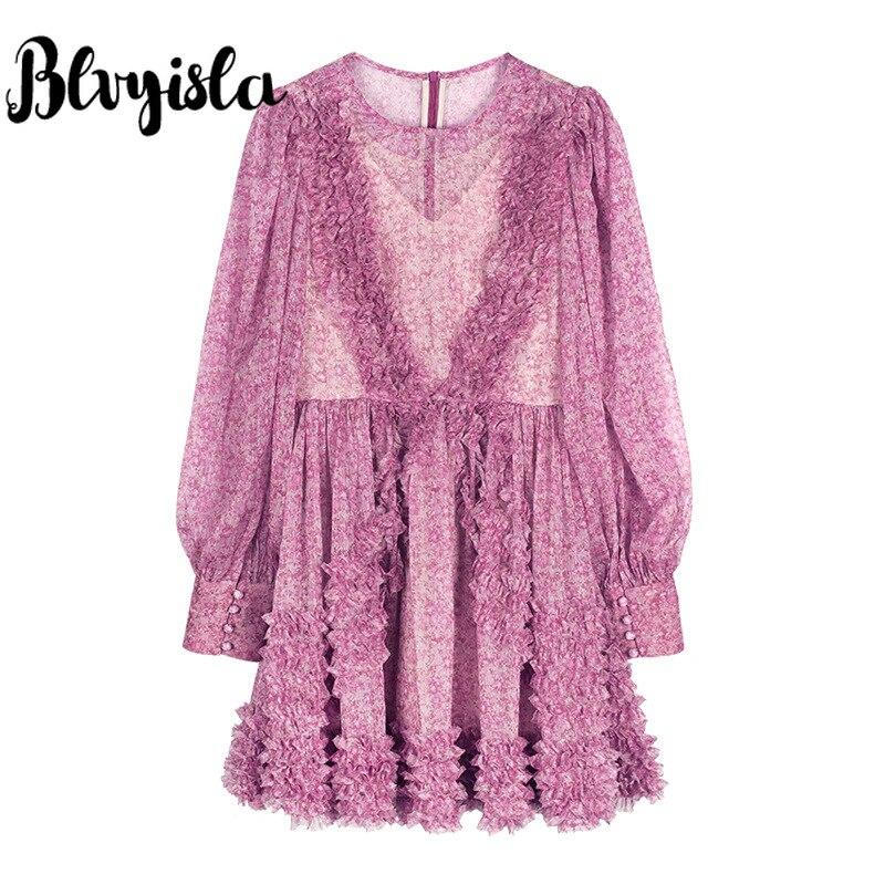 Blvyisla douce mousseline de soie rose Mini robe fée dame à volants à manches longues robes princesse fleur robes asie taille