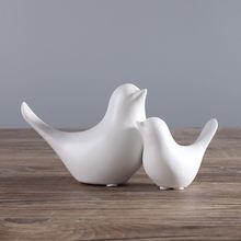 Cerâmica pássaro decoração de cerâmica branco aves estatuetas nórdico decoração arte moderna para o quarto decoração festa casa acessórios