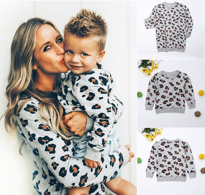 Mother And Daughter Me Family Matching Clothes Mom Kids Girls Boys Autumn Sweatshirt Leopard Print Pullover Tops T-shirts