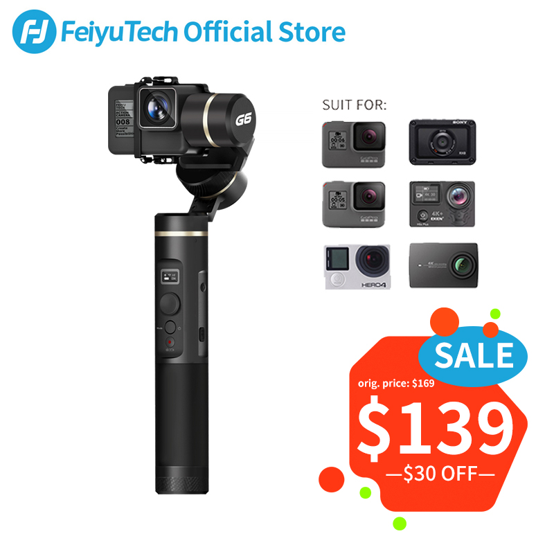 FeiyuTech G6 Splash Proof Handheld Gimbal Tripod Action Camera Stabilizer Bluetooth & Wifi for Gopro Hero 7 6 5 Sony RX0 Feiyu-in Handheld Gimbals from Consumer Electronics