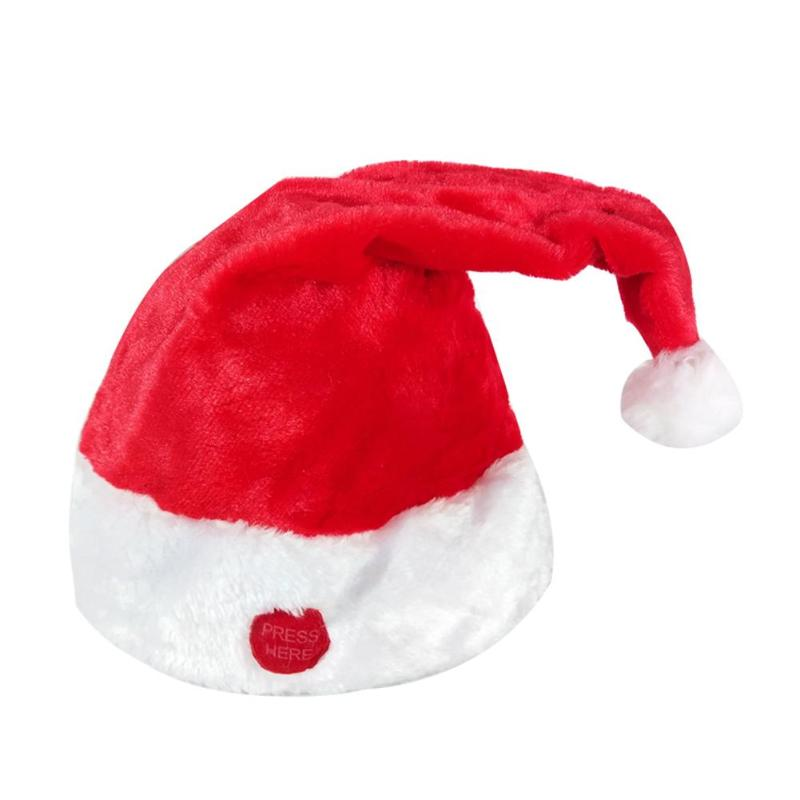Christmas Hat Excellent Plastic Top Grade Gold Velvet PP Cotton Filling Sing And Swing Adjustable Decorations Ornament