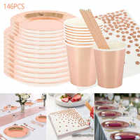 146pcs Party Disposable Tableware Rose Gold Champagne Paper Cup Plate Straws Birthday Party Decor Kid Baby Shower Party Supplies