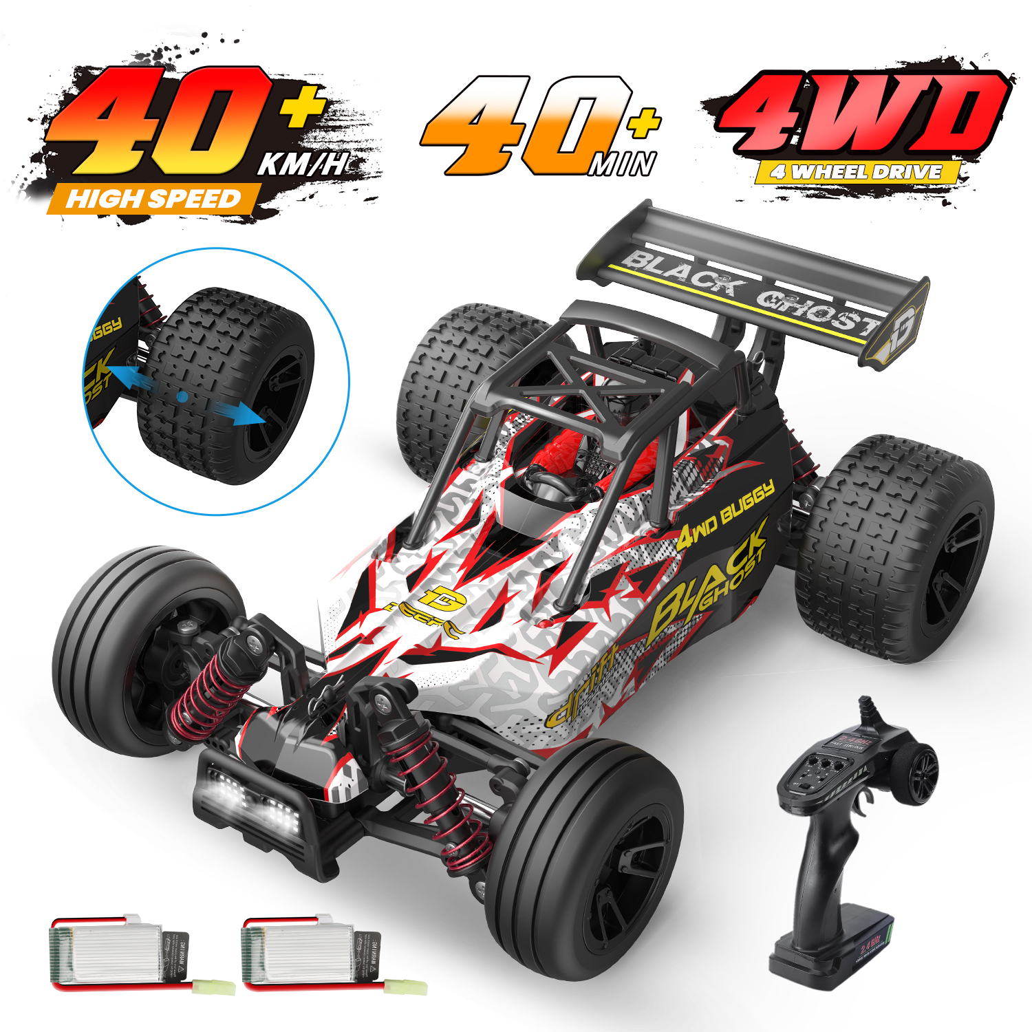 DEERC 9305E RC Cars High Speed Remote Control Car for Adults Kids Boys,1:18 Scale 25+ MPH 4WD All Terrain Off Road Monster Truck