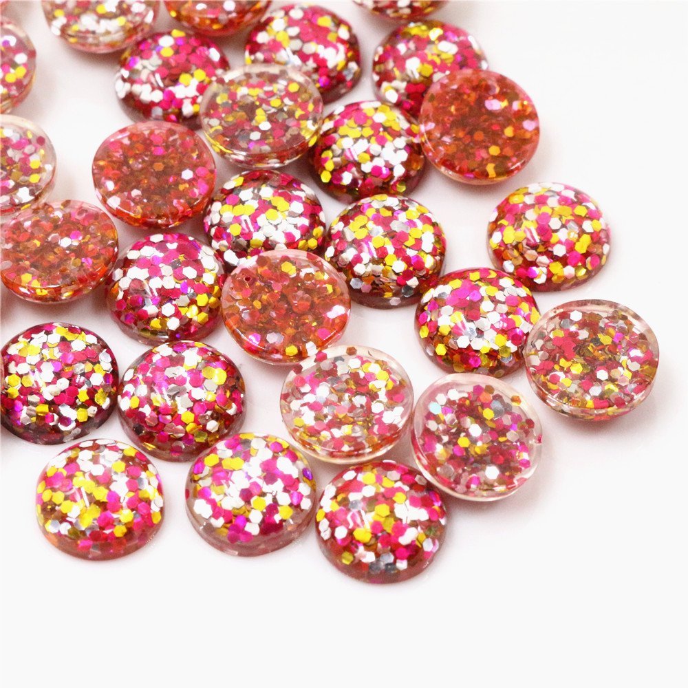 40pcs 12mm New Fashion Rose Red And Pink And Orange Mix Color Flat Back Resin Cabochons Cameo  G3-35