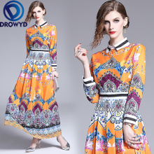 Autumn Print Office Maxi Dress for Women Boho Casual Korean High Waist Long Sleeve Yellow Floral Elegant Party Dresses Vestidos casual floral print bandage party wrap mini shirt dress women autumn elegant long sleeve office lady dresses vintage vestidos