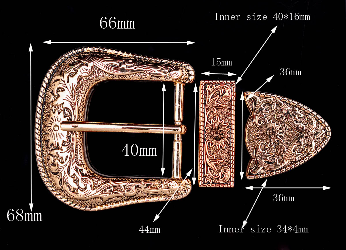 Gold Heavy Western Flower Engraved Cowboy Belt Buckle 3 Piece Set Unisex 1-1/2