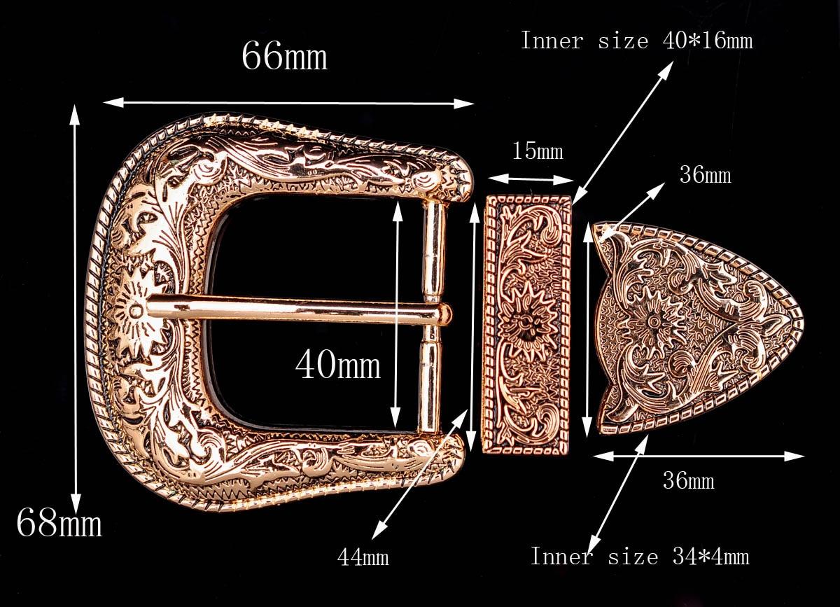 Gold Heavy Western Flower Engraved Cowboy Belt Buckle 3 Piece Set Unisex 1-1/2