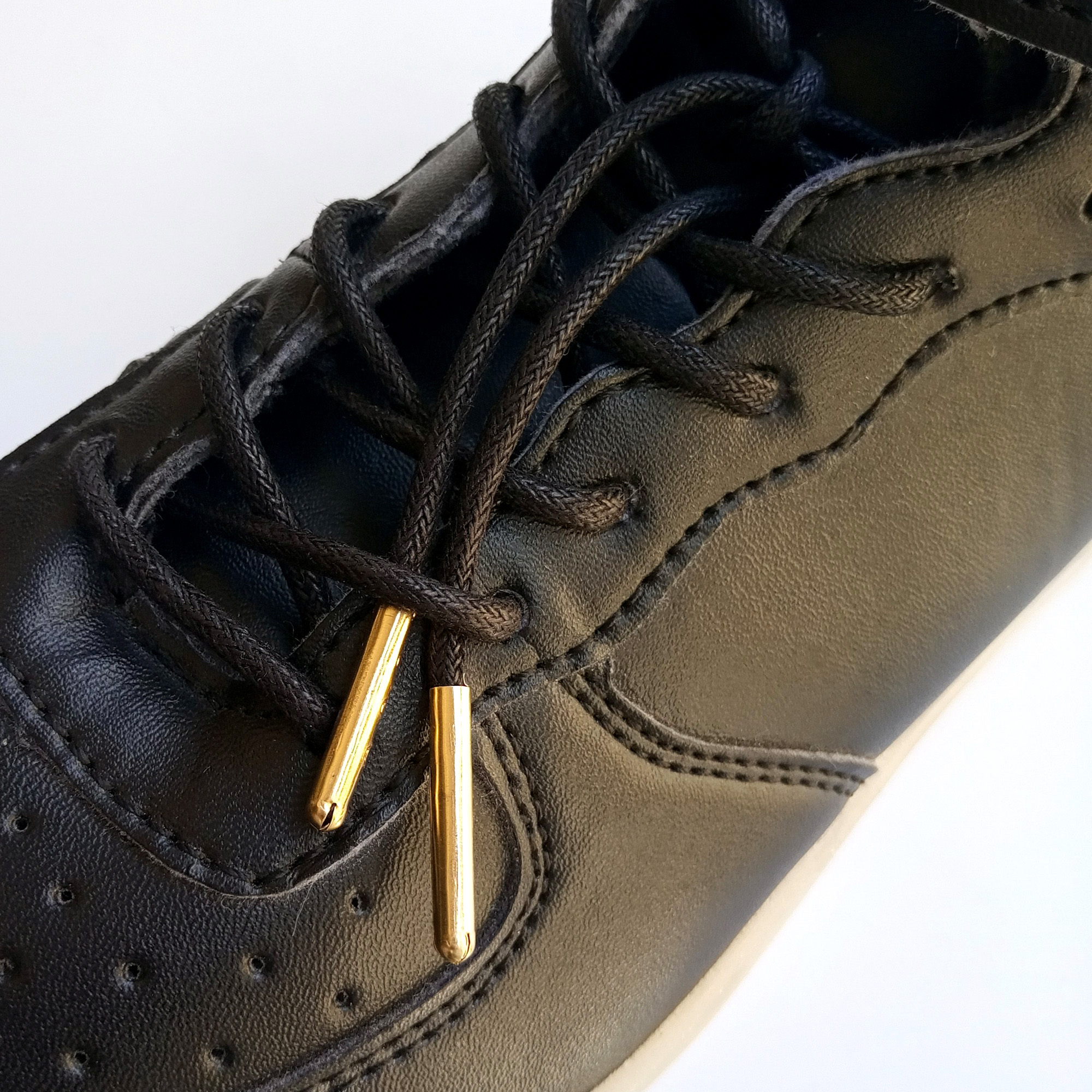 1Pair Flat Round Waxed Cotton Dress Shoelaces Polyester Laces with Gold Silver Gun Copper Metal Tips Fit All Sneaker Shoes Boots