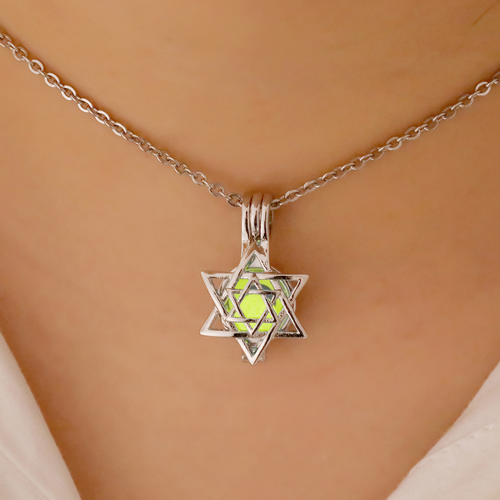 Купить с кэшбэком Silver Color Openwork Star Of David Pendant Luminous Necklace Women Choker Flying Horse Glowing In The Dark Fashion Jewelry