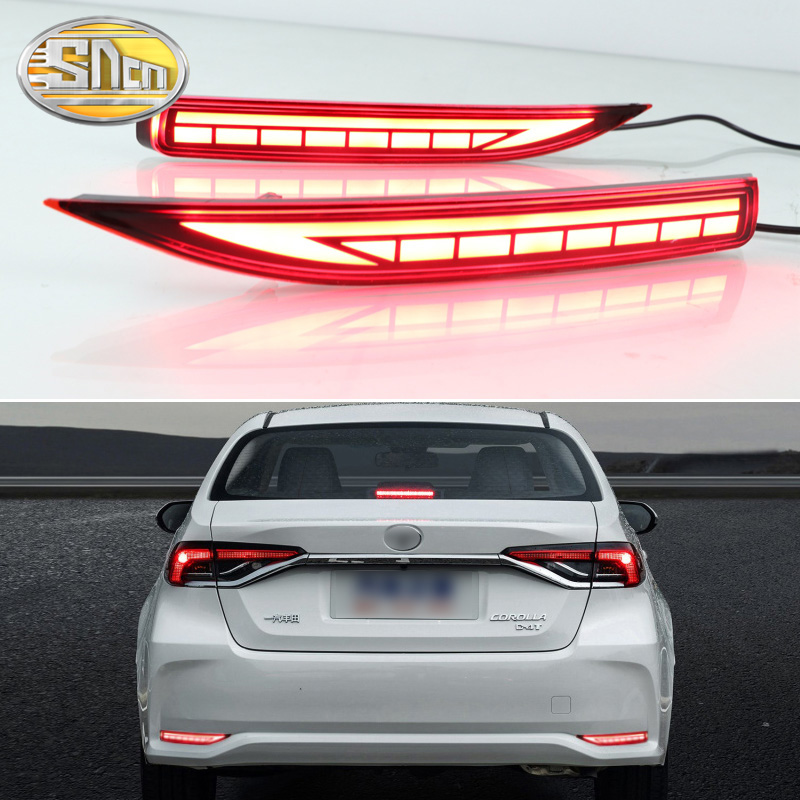 2PCS For Toyota Corolla 2019 2020 Multi-function Car LED Rear Fog Lamp Bumper Light Brake Light Dynamic Turn Signal Reflector