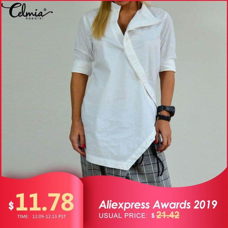 Celmia Women Long Shirts 2019 Autumn Spring Asymmetric Linen Blouse Casual Loose Tunic Tops Buttons Blusas Chemise Femininas 5XL