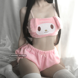 Image 5 - OJBK Pink And White Kwaii Velvet Tube Top And Panties Set For Girls Adorable Underwear Anime Long Ear Doggy Bra and bloomers