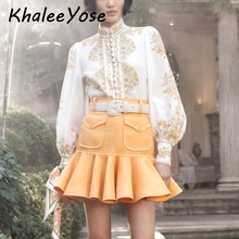 KHALEE YOSE White Floral Print Blouse Shirt 2019 Autumn Blouses Women Lantern Long Sleeve Button Front Shirts Clothing Female