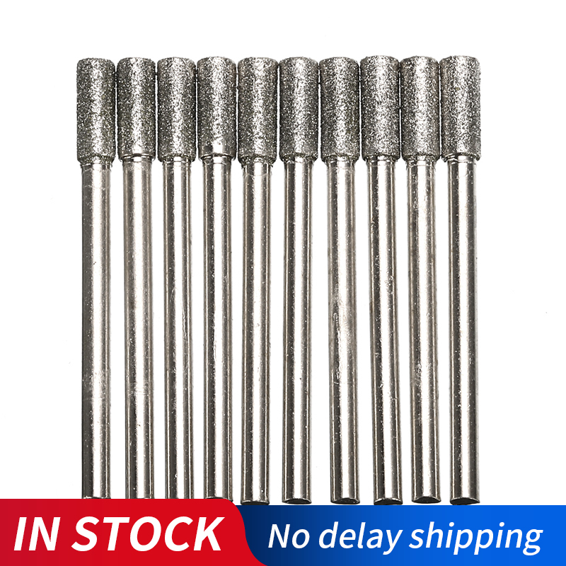 10PCS 4mm Diamond Coated Cylindrical Burr Chainsaw Sharpener Stone File Chain Saw Sharpening Carving Grinding Tools