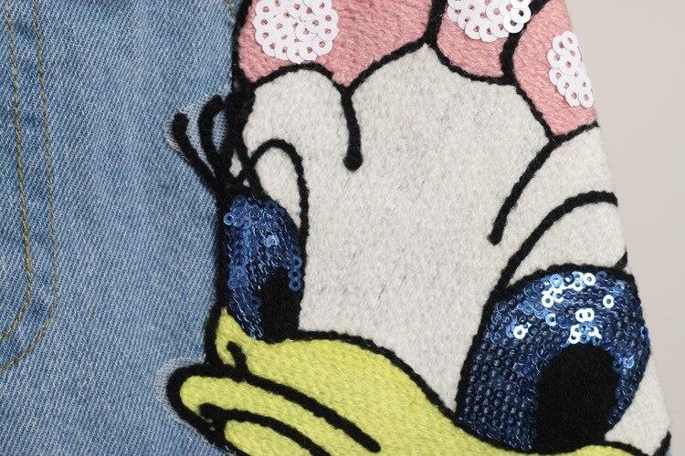 Girls Outfits Cartoon Duck Printed Summer Shirt&Sequins Broken Hole Denim Shorts Toddler Girls Clothing Set Children Clothes 5