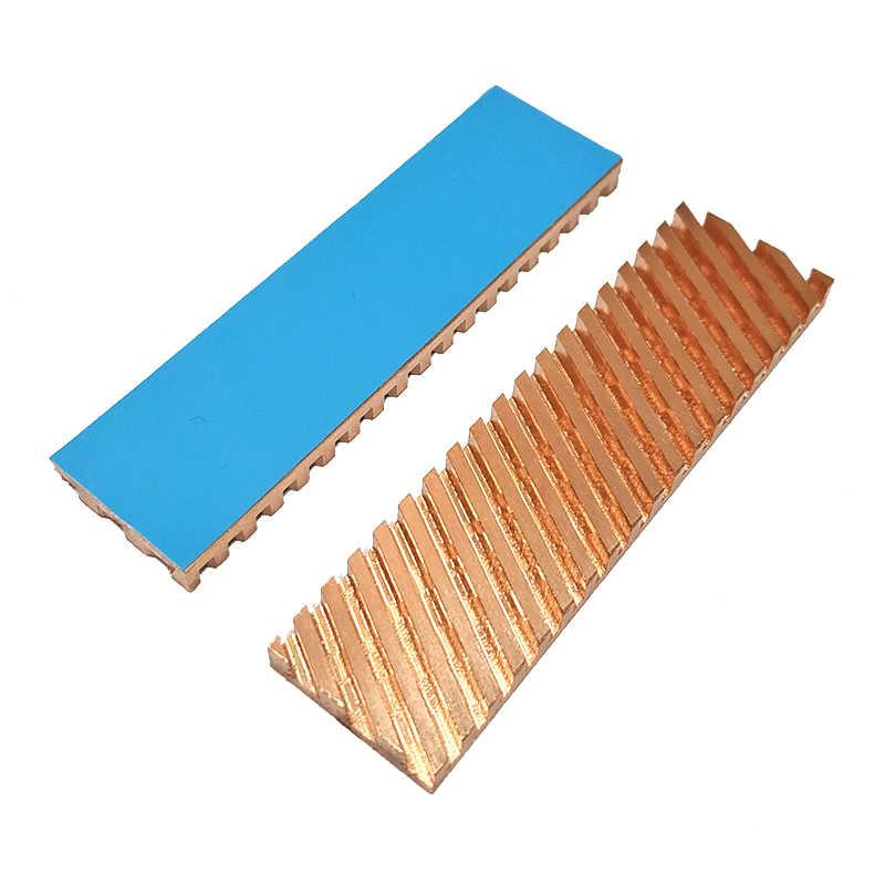 Tembaga Murni Heatsink Cooler Heat Sink Termal Konduktif Perekat untuk M.2 Ngff 2280 PCI-E NVMe SSD 67x18x0.5/1.5/2/3/4 Mm