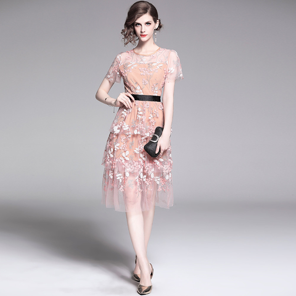 Smthma New Fashion Designer Runway Dress Women Pink Mesh Embroidery Sequin Dess Short Sleeve Lace Sweet Midi Dress Vestidos Dresses Aliexpress