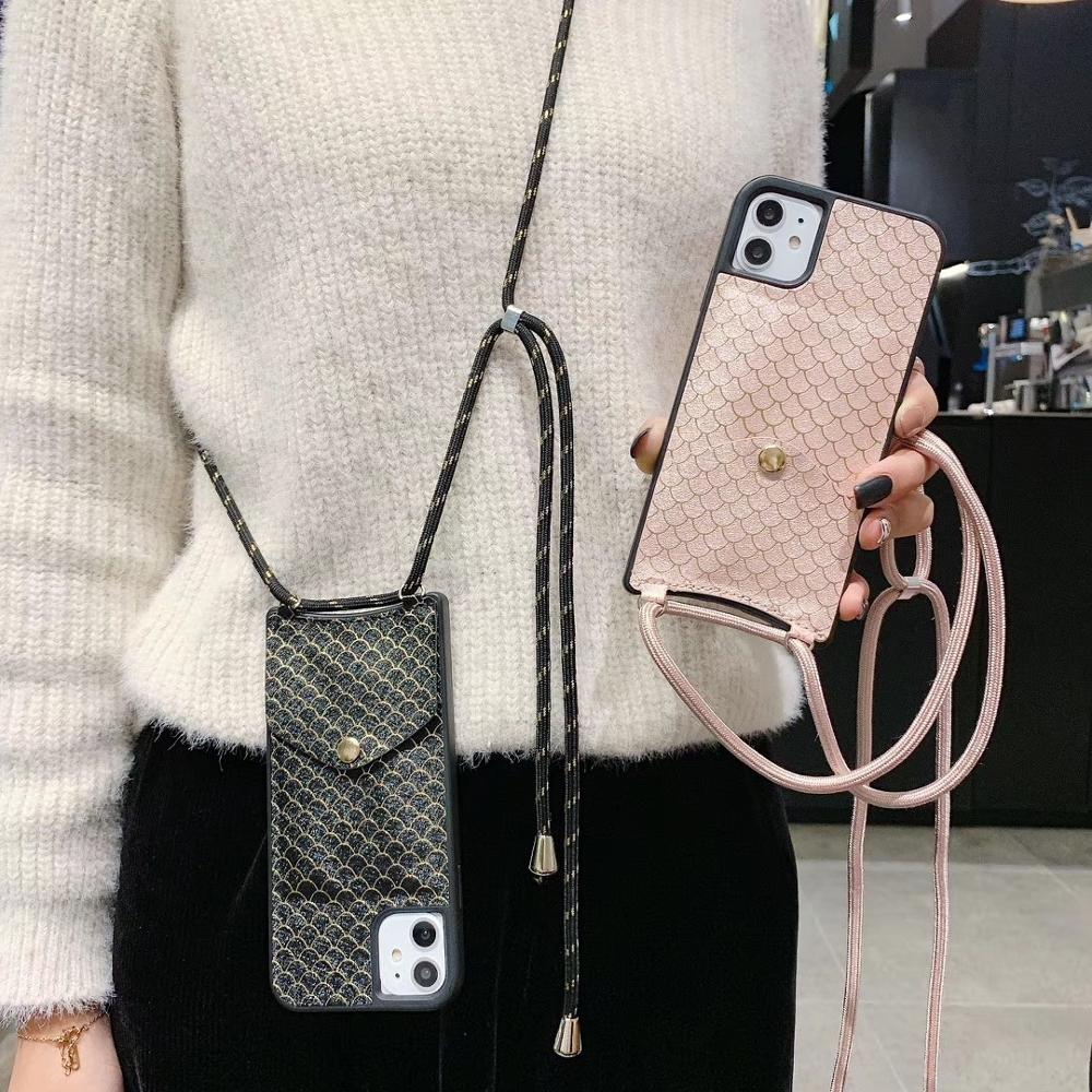 Luxury <font><b>Bling</b></font> Fish Scale Crossbody <font><b>Wallet</b></font> <font><b>Case</b></font> for <font><b>iPhone</b></font> 11 Pro Max XS MAX XR X 6 S <font><b>8</b></font> 7 <font><b>plus</b></font> Card Slot Necklace Cord Phone Cover image
