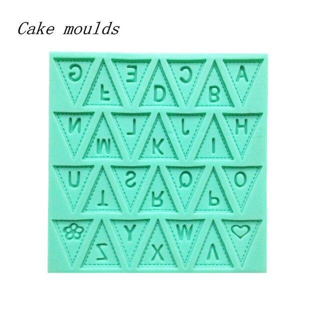 ANGRLY lettre drapeau dentelle Silicone gâteau moule décoration cuisson pâtisserie chocolat moule outil de cuisson moules mode Design vente